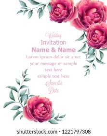 Wedding Invitation rose flowers watercolor frame Vector. Beautiful fuchsia colors floral decors
