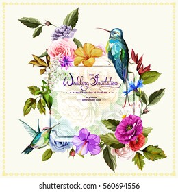 Wedding invitation with roses, poppy flowers and peony and two hummingbirds around. This template can be used as other type of invitations and holidays. Vector - stock.