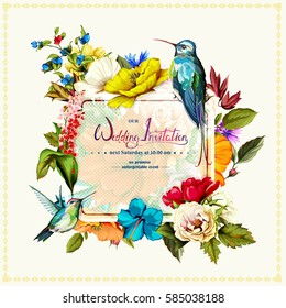 Wedding invitation with roses, poppy flowers, cornflowers, lily of the valley and two hummingbirds around. This template can be used as other type of invitations and holidays. Vector - stock.