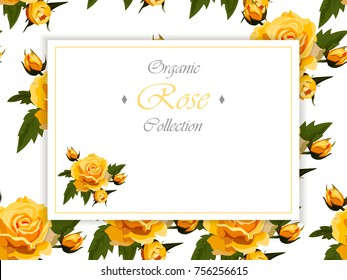 Wedding invitation with roses. yellow roses. Floral collection