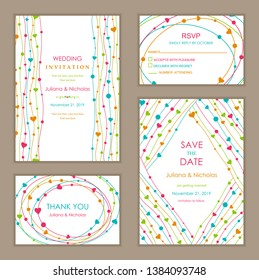 Wedding Invitation, with rsvp, save the date and thank you card. Abstract striped and hearts ornament. Geometric pattern. Vector illustration.