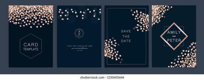 Wedding invitation, RSVP, thank you cards. Vector elegant rustic template. Metallic lights in Rose Gold mode.