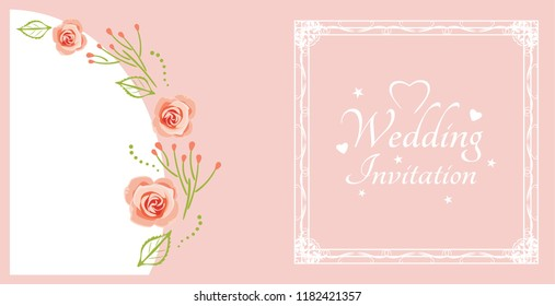 Wedding invitation. Sample for postcard with pink roses. Vector