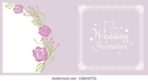Wedding invitation. Sample for postcard with purple roses. Vector