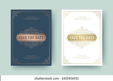 Wedding invitation save the date card golden flourishes ornaments vignette swirls. Vintage victorian frame and decorations. Vector elegant template.