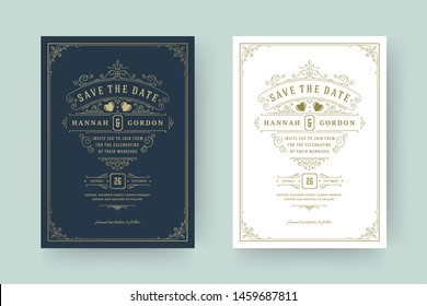Wedding invitation save the date card template elegant flourishes ornaments vignette swirls vector illustration. Wedding vintage victorian ornate frames and decorations.