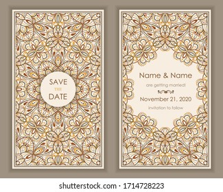 Wedding Invitation and save the date card Eastern style. Arabic  Pattern. Mandala ornament. Frame with flowers elements. Vector illustration.