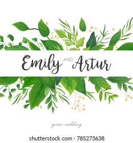 Wedding Invitation, save the date card floral Design with green watercolor fern leaves, forest foliage greenery decorative frame print. Vector elegant cute watercolor rustic greeting, invite, postcard