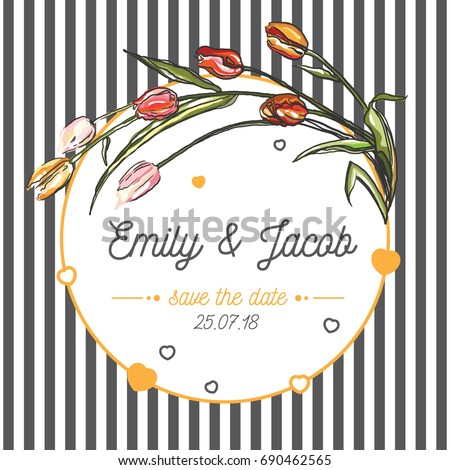 Wedding invitation save date card retro stock vector royalty free wedding invitation save the date card retro style banner template with calligraphy and tulip maxwellsz