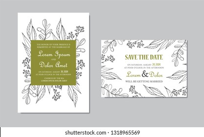 Wedding Invitation and Save the Date cards with floral hand drawn elemnts. Vector illustration