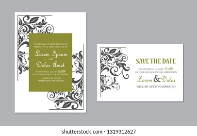 Wedding Invitation and Save the Date cards with floral vintage elemnts. Vector illustration