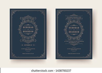 Wedding invitation and save the date cards flourishes ornaments vignette swirls. Vintage victorian frames and decorations. Vector elegant template.