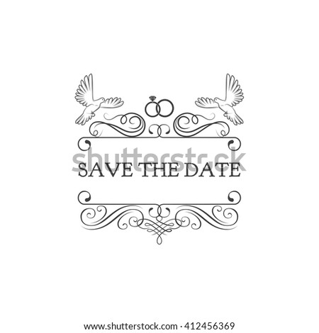 Wedding Invitation Save Date Dove Pigeon Stock Vector (Royalty Free ...