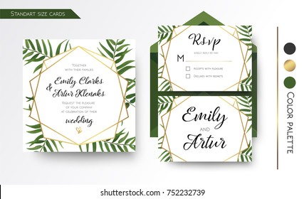 Wedding Invitation, save the date, rsvp invite card Design with green tropical forest palm tree leaves, forest  greenery simple, geometric golden border hexagonal foil print. Vector floral copy space