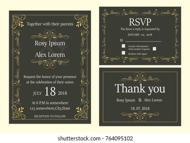 wedding invitation save date rsvp card stock vector royalty free