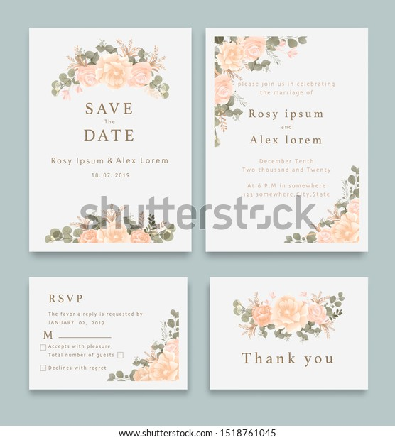 Wedding Invitation Save Date Rsvp Card Stock Vector Royalty