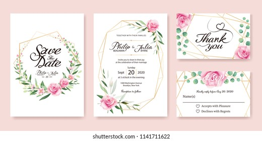 Wedding Invitation, save the date, thank you, rsvp card Design template. Vector. Summer flower, pink rose, silver dollar, olive leaves, Wax flower.