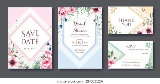 Wedding Invitation, save the date, thank you, rsvp card Design template. Vector. Queen of sweden rose flower, leaves, Anemone plants. vector.