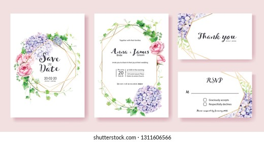 Wedding Invitation, save the date, thank you, rsvp card Design template. Vector. Greenery Ivy,  Pink rose, Hydrangea flower.