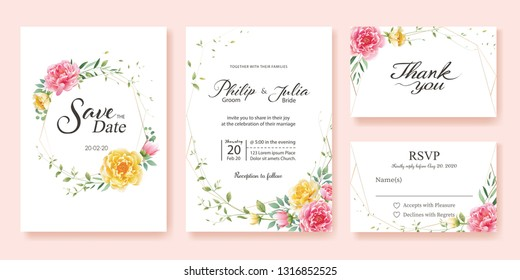 Wedding Invitation, save the date, thank you, rsvp card Design template. Yellow and pink flower, silver dollar, olive leaves, Wax flower. Vector.