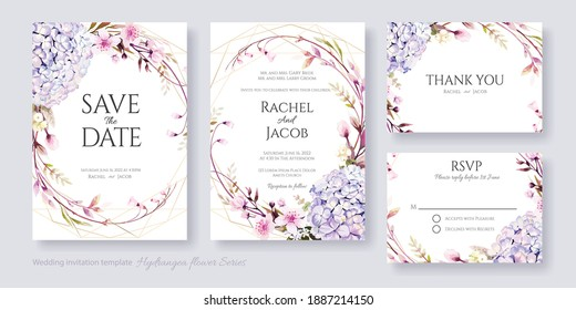 Wedding Invitation, save the date, thank you, RSVP card Design template. Vector. hydrangea and Cherry blossom flowers.