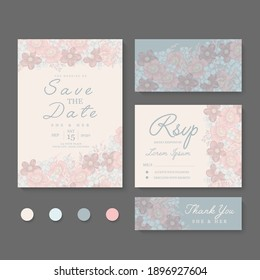 Wedding Invitation, save the date, thank you, rsvp card Design template. Vector.