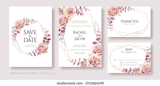 Wedding Invitation, save the date, thank you, rsvp card template. Juliet rose and wax flower with eucalyptus leaves.