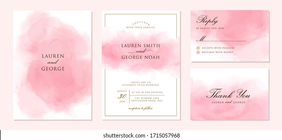 wedding invitation set with abstract pink background