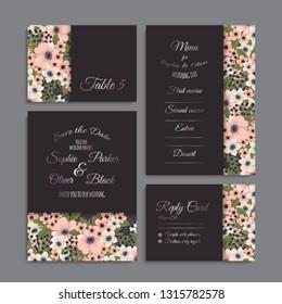 Wedding invitation set. Beautiful flowers. Greeting card. template