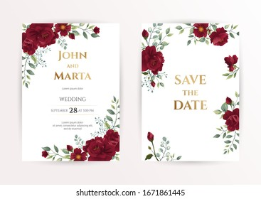 Wedding invitation set of card with red flowers rose, eucalyptus leaves. Floral Trendy templates for banner, flyer, poster, greeting. Vector illustration. eps 10