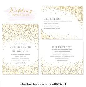Wedding invitation Set with Confetti Design