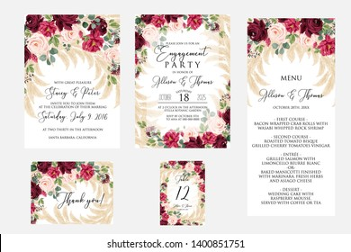 Wedding invitation set dark red marsala peony rose greenery pampas grass eucalyptus Engagement party menu thank you card number table card