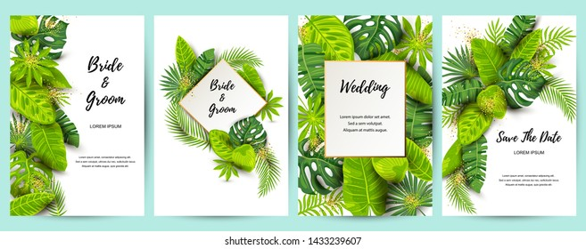 Wedding invitation set with exotic jungle leaves. Vector illustration tropical template. Place for text. Great for flyer, party invitation, ecological concept, wedding. Save the date card.