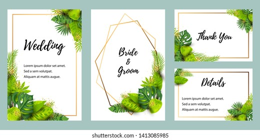 Wedding invitation set with exotic leaves. Vector illustration tropical template. Place for text. Great for flyer, party invitation, ecological concept, wedding, web. Save the date card.