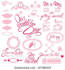Day our wedding imagens fotos e vetores stock shutterstock wedding invitation set with floral elements frames calligraphic handwritten text our wedding day junglespirit Image collections