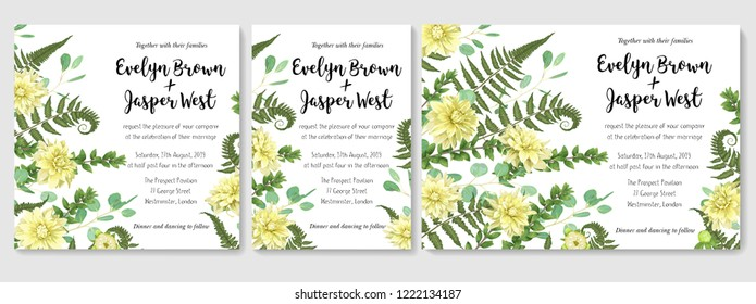 Wedding Invitation set, flowers of yellow dahlia, fern leaves greenery, eucalyptus and boxwood branches, forest foliage decorative frame print, vignettes, postcards, posters, labels