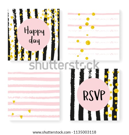 de74679a1 Gold hearts and dots on black and pink background. Template with wedding  invitation set for party