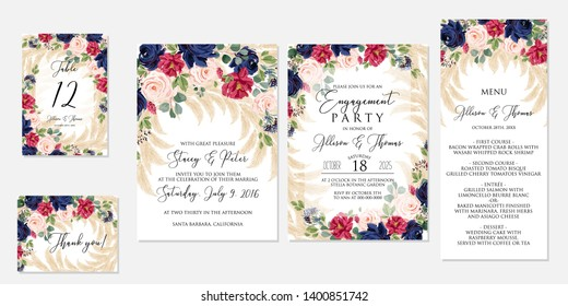 Wedding invitation set marsala dark red pink navy blue peony rose greenery pampas grass eucalyptus   Engagement party menu table card thank you card