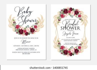 Wedding invitation set marsala peony rose greenery pampas grass eucalyptus Baby shower Bridal shower