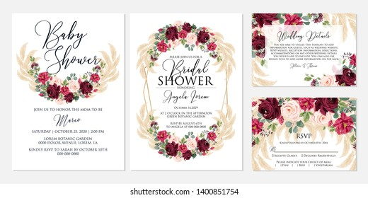 Wedding invitation set marsala peony rose greenery pampas grass eucalyptus baby shower Bridal shower rsvp detail card template