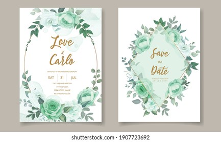 Wedding invitation set template with floral greenery