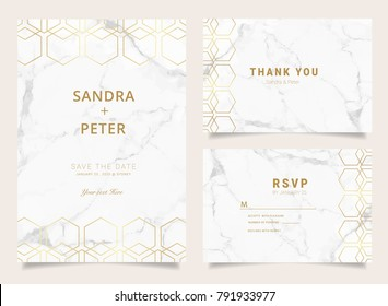 Wedding invitation set with Thank you card, RSVP, Marble texture background and geometric shapes pattern