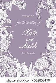 Wedding invitation. Spring flowers. Narcissus, anemones, primroses, lilac, snowdrop. Vintage botanical illustration. Vector design element.