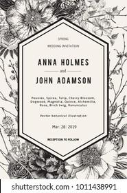Wedding invitation. Spring Flowers and twig. Peonies, Spirea, Cherry Blossom, Dogwood. Vintage botanical illustration. Black and