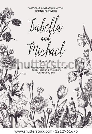 Wedding Invitation Spring Summer Flowers Black Stock Vector Royalty