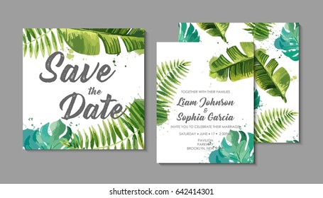 Wedding invitation suite with exotic tropical leaves.