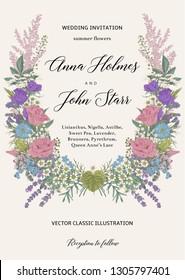 Wedding invitation. Summer wedding. Flower wreath. Vector vintage illustration.
