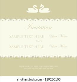 Wedding invitation with swan couple