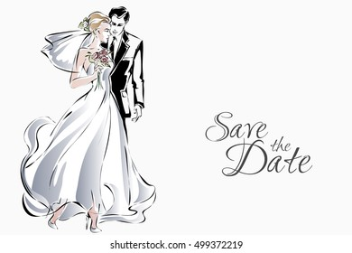 Wedding invitation with sweet couple, happy bride and groom, vector illustration