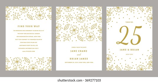 Wedding Invitation with table number, save the date and menu design